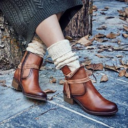Shoespie Vintage Block Heel Round Toe Lace Up Ankle Boots