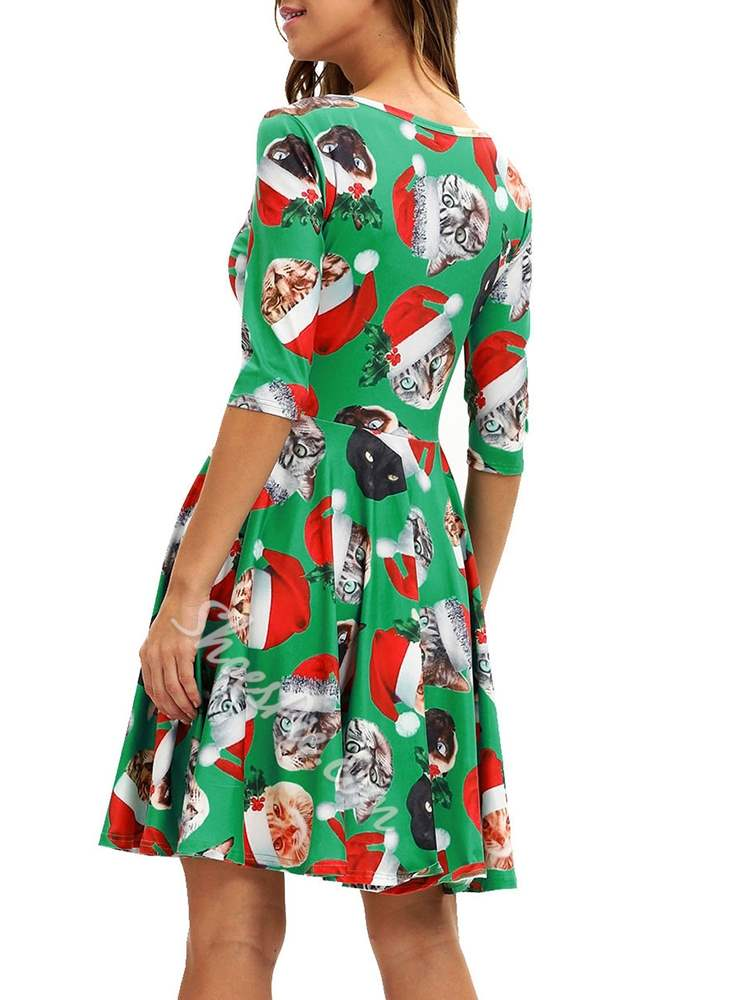 Christmas Print Polyester Fall Women's Maxi Dress