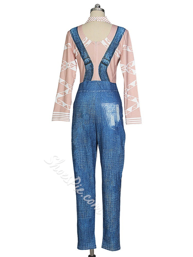 Fashion Full Length Patchwork Straight Worn Women's Jumpsuit