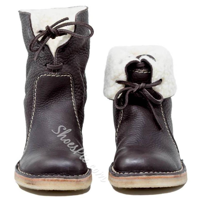 Shoespie Trendy Round Toe Lace-Up Ankle Snow Boots