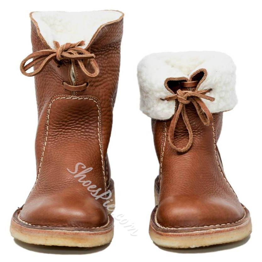 Shoespie PU Trendy Round Toe Lace-Up Ankle Snow Boots