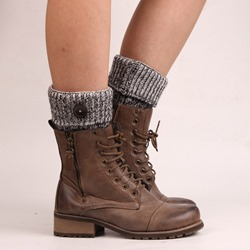 One Button Color Block Boot Cuffs