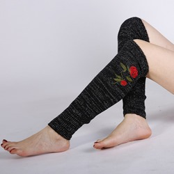 Rose Embroidery Knitted Leg Warmers