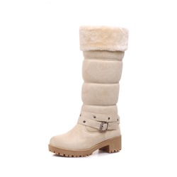 Shoespie Stylish Plain Chunky Heel Round Toe Snow Boots