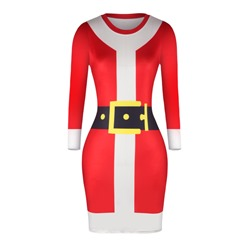 Christmas Long Sleeve Casual Women's Bodycon Dresses