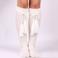 White Knee-High Boot Socks with Tassel