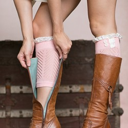 Cotton Blends Boot Cuffs with Lace