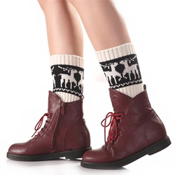 Reindeer Pattern Winter Warmth Boot Cuffs