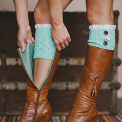 Two Button Warmth Boot Cuffs With Lace Trim