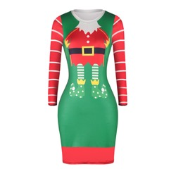 Christmas Long Sleeve Pullover Casual Women's Bodycon Dress