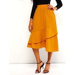 Plain Falbala A-Line High-Waist Women's Skirt
