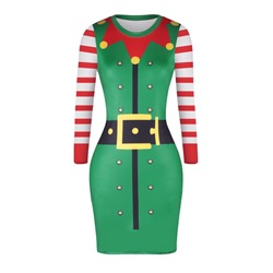 Christmas Long Sleeve Polyester Women's Bodycon Dress