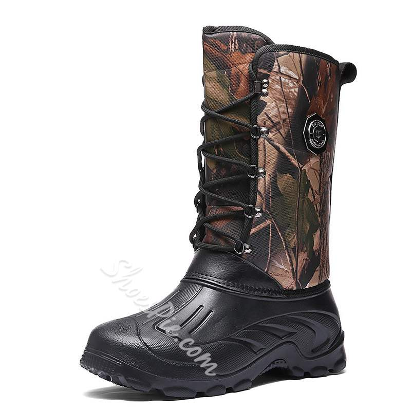 Shoespie Camouflage Round Toe Lace-Up Men's Snow Boots