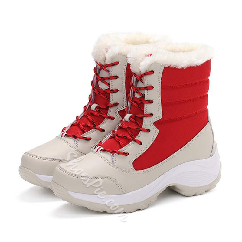 Shoespie Lace-Up Round Toe Platform Ankle Snow Boots