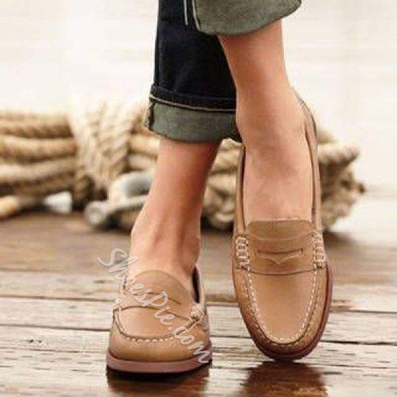 Shoespie Trendy Slip-On PU Leather Round Toe Flat Loafers