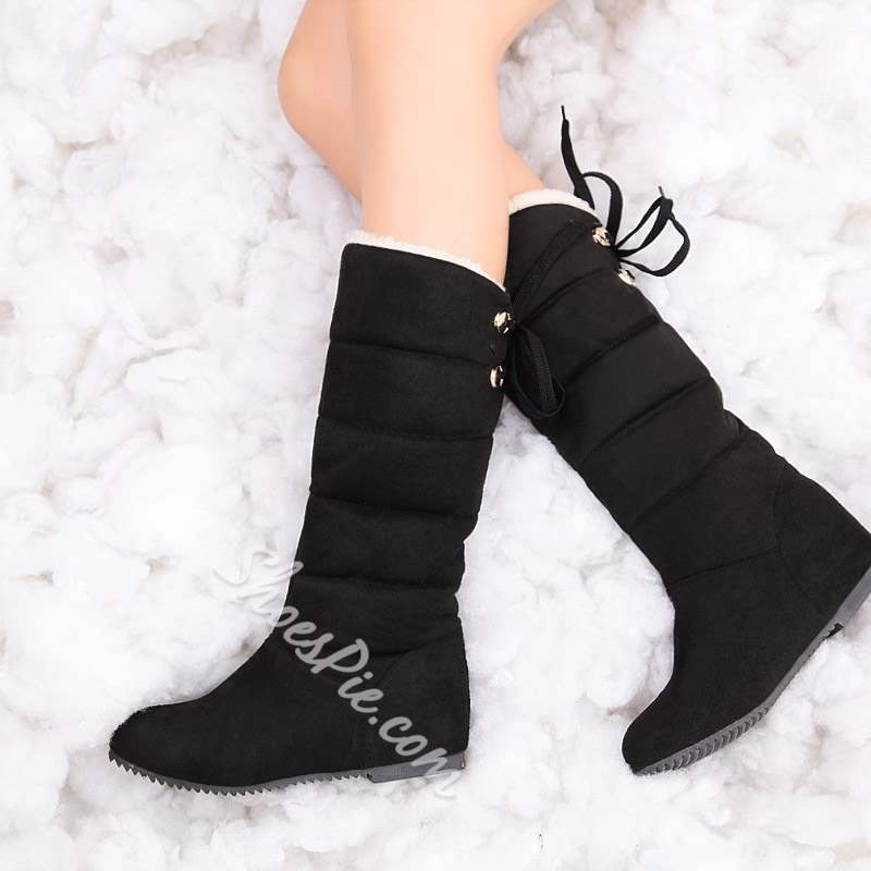 Shoespie Stylish Round Toe Hidden Heel Snow Boots