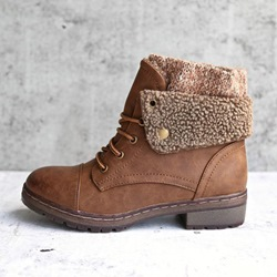 Shoespie Trendy Round Toe Lace-Up Patchwork Ankle Boots