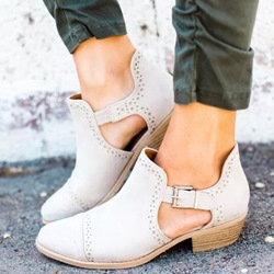 Shoespie Casual Round Toe Chunky Heel Hollow Ankle Shoes
