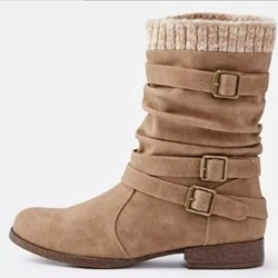 Shoespie Trendy Slip-On Round Toe Buckle Ankle Boots