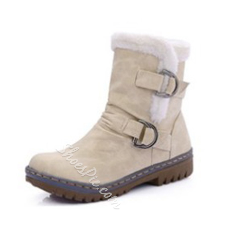 Shoespie Slip-On Round Toe Buckle Ankle Snow Boots