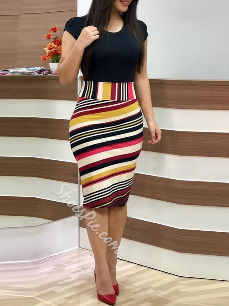 Knee-Length Round Neck Short Sleeve Women's Bodycon Dress