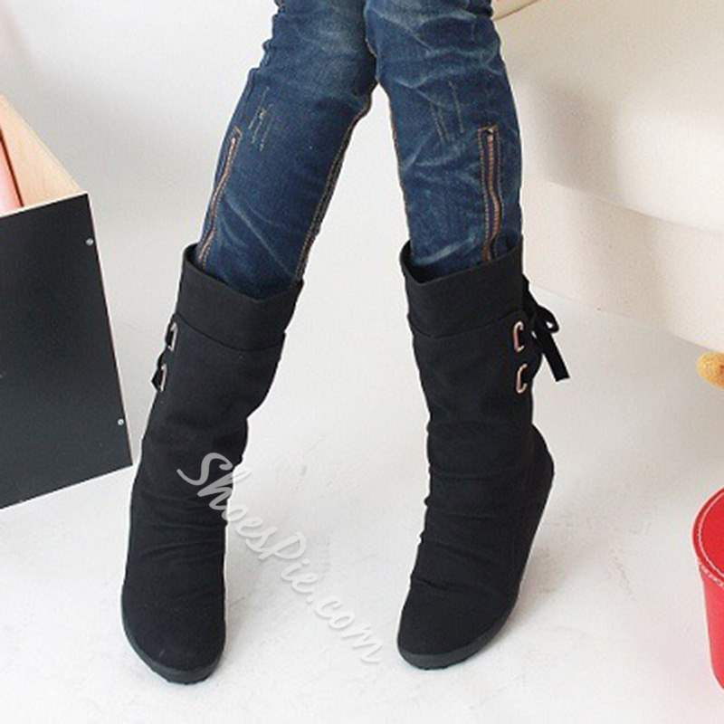 Shoespie Casual Round Toe Lace-Up Back Ankle Boots