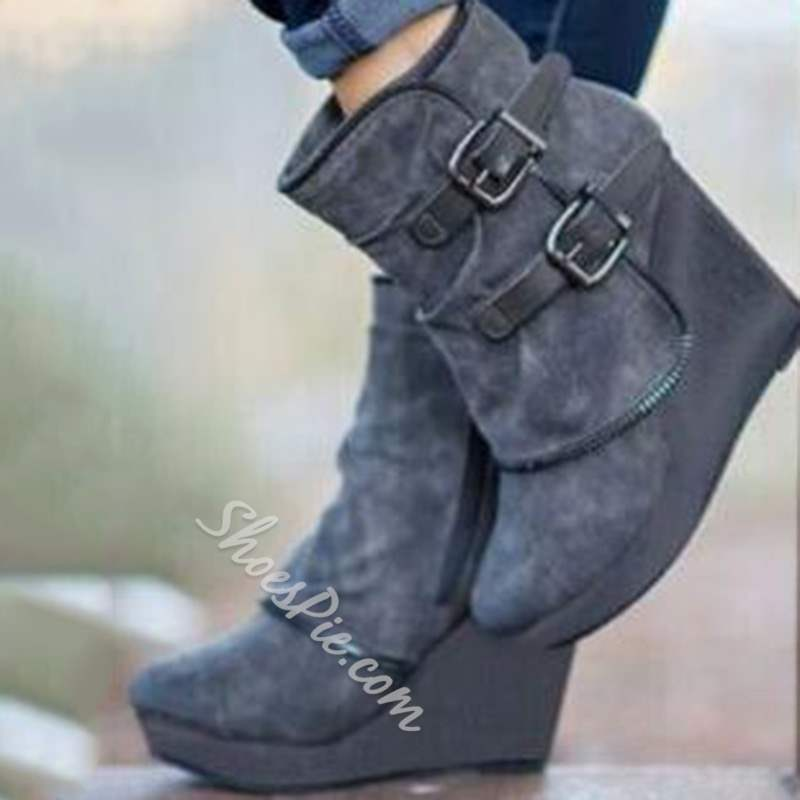 Shoespie Stylish Side Zipper Wedge Heel Ankle Boots