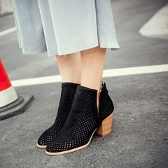 Shoespie Sexy Round Toe Hollow AnkleBoots