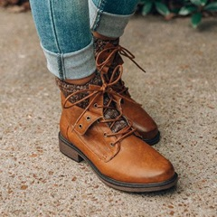 Shoespie Stylish Lace-Up Round Toe Motorcycle Ankle Boots