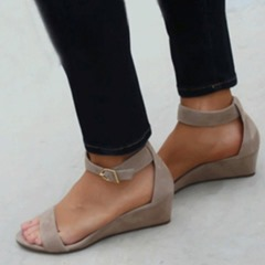 Shoespie Trendy Buckle Open Toe Wedge Heel Sandals