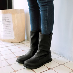 Shoespie Trendy Slip-On Round Toe Short Floss Ankle Boots