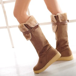 Shoespie Trendy Plain Round Toe Slip-On Buckle Knee High Boots