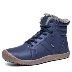 Shoespie Lace-Up Round Toe High Top PU Men's Snow Boots
