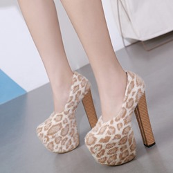 Shoespie Sexy Round Toe Platform Slip-On High Heels