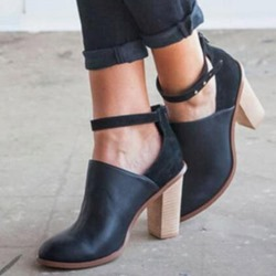 Shoespie Trendy Zipper Round Toe Chunky Heel Strap Ankle Boots