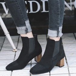 Shoespie Sexy Chunky Heel Patchwork Pointed Toe Ankle Boots