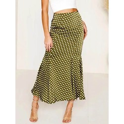 Polka Dots Ankle-Length Print Mid-Waist Women's Skirt