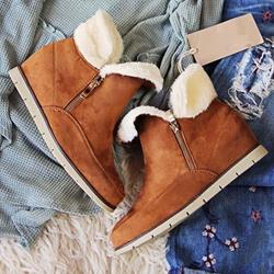 Shoespie Side Zipper Hidden Elevator Heel Ankle Snow Boots