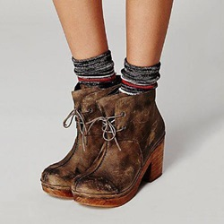 Shoespie Sexy Lace-Up Block Heel Motorcycle Ankle Boots
