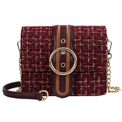 Shoespie Belt-Decorated Wool Blends Plaid Square Crossbody Bags