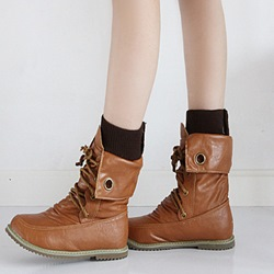 Shoespie Trendy Round Toe Flat Lace-Up Ankle Boots