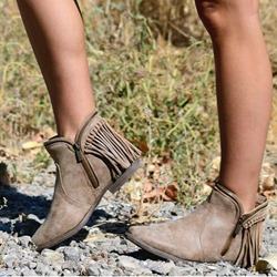 Shoespie Sexy Plain Side Zipper Fringe Ankle Boots