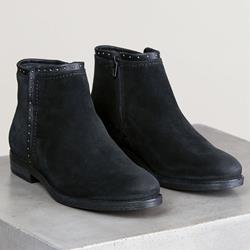 Shoespie Stylish Black Flat Round Toe Side Zipper Ankle Boots