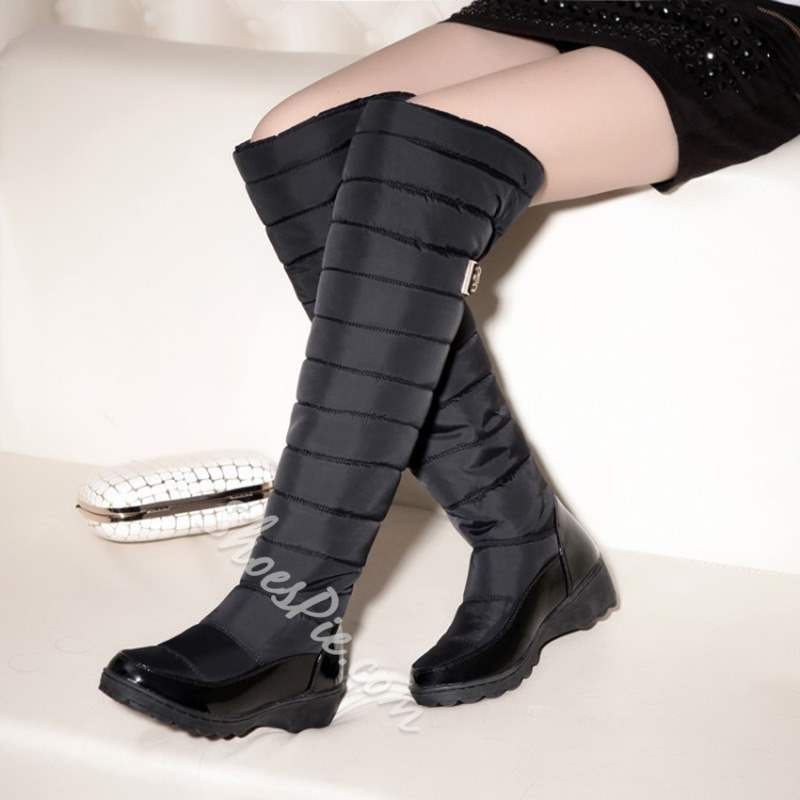 Shoespie Sexy Patchwork Wedge Round Toe Knee High Snow Boots