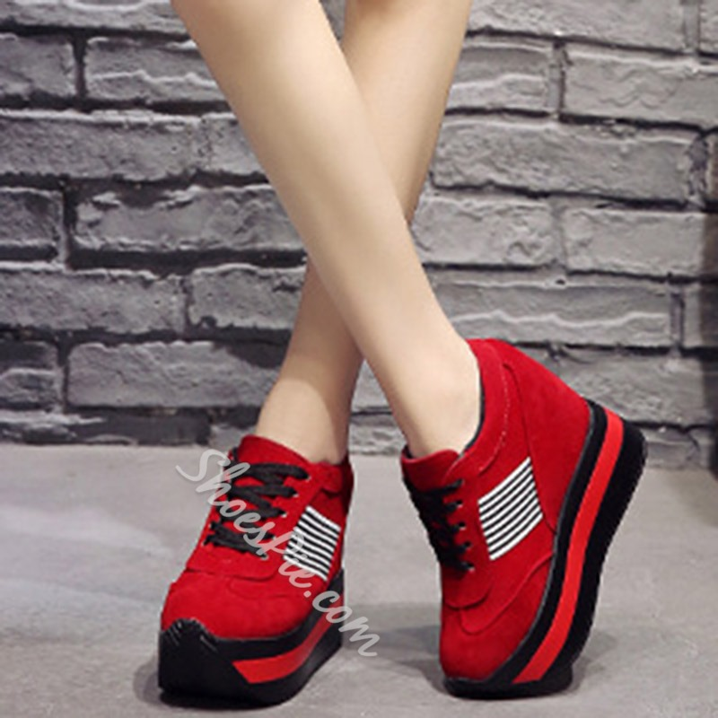 Shoespie Sexy Lace-Up Platform Hidden Elevator Sneakers