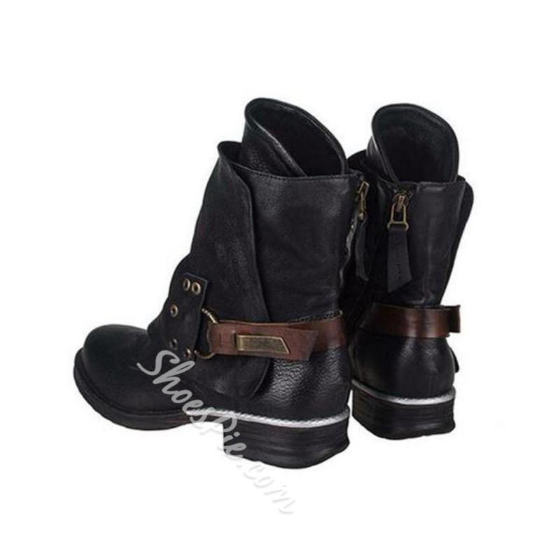 Shoespie Stylish Side Zipper Round Toe Motorcycle Ankle Boots
