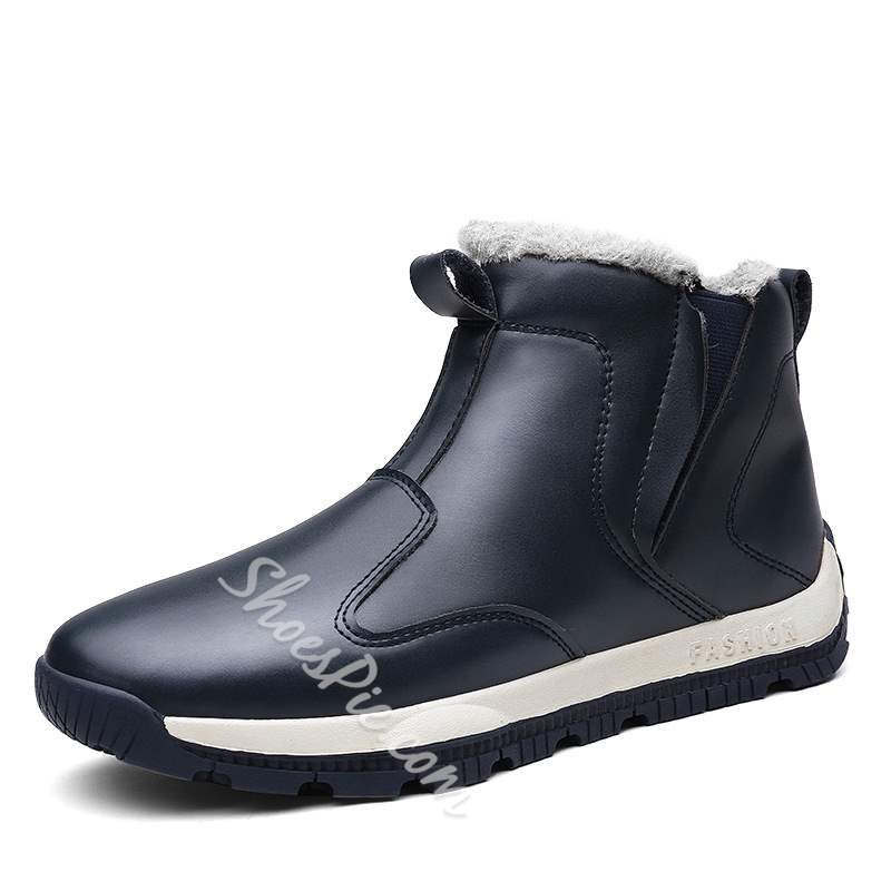 Shoespie Elastic Round Toe PU Ankle Men's Snow Boots