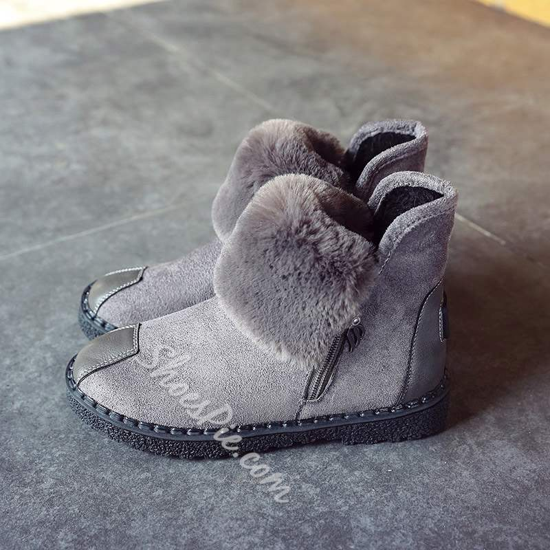 Shoespie Trendy Round Toe Side Zipper Ankle Snow Boots