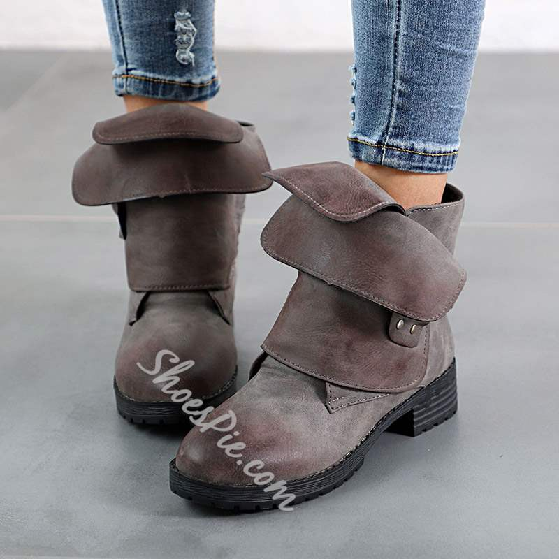 Shoespie Vintage Block Heel Round Toe Slip-On Ankle Boots
