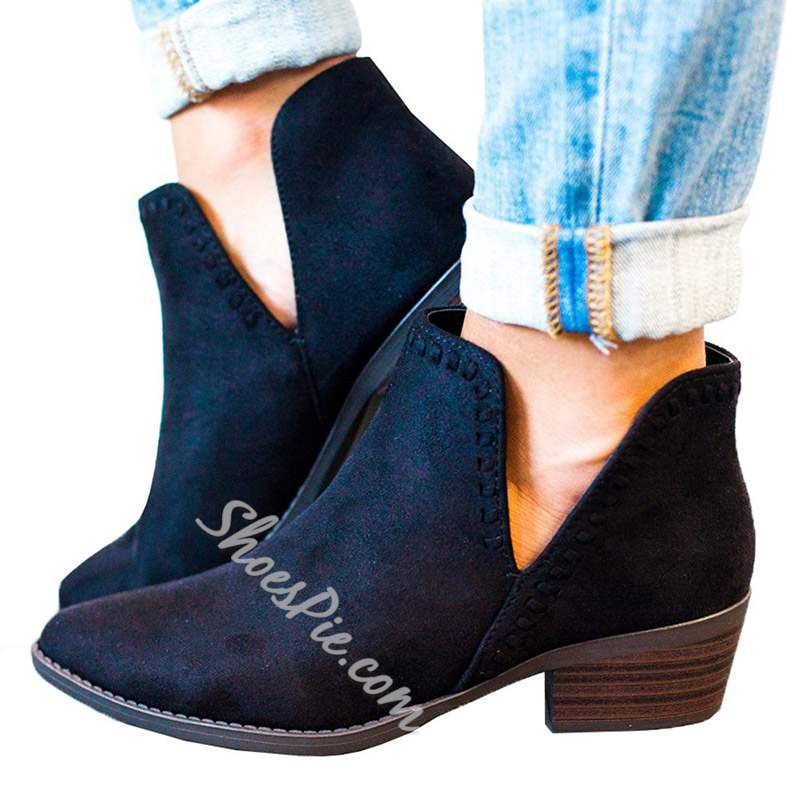 Shoespie Slip-On Pointed Toe Chunky Heel Thread Ankle Boots